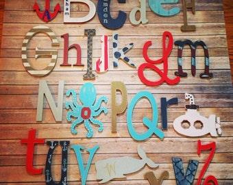Set of 26 painted nautical theme wood letters. Custom wood alphabet