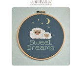 Sweet Dreams, Sleeping Sheep Cross Stitch Pattern Instant Download