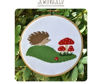 Hedgehog & Toadstool Mushrooms Cross Stitch Pattern Instant Download