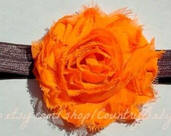 Baby Orange Headband...Fall Headband Orange Flower on Brown Black or White Elastic