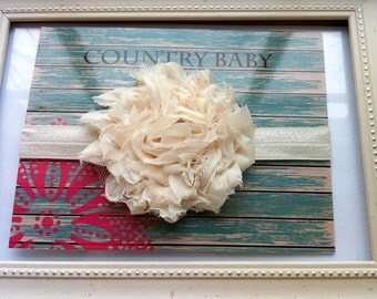 Ivory Flower Headband...Baby Ivory Flower Headband...Newborn Ivory Headband...Baby Flower Headband