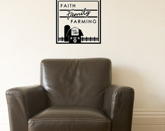 Faith Family Farming Wall Quote Words Removable Country Farm Wall Decal Lettering 2 Sizes! DA018_F