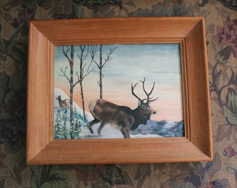 Buck & Doe Deers at Sunset Painting -  Wood Frame 1954 Signed - Rustic Cabin Decor - Winter Mountains Outdoors