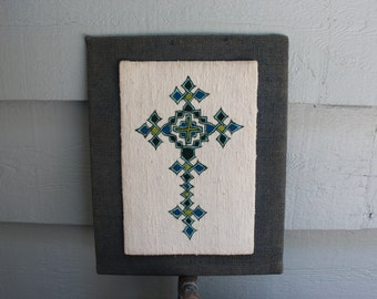 Celtic Cross Needlework with Burlap Back - Azure Teal Green - Primitive Folk Art Goth