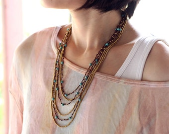 Turquoise Layered Six Strand Woven Necklace