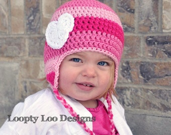 Girl Crochet Earflap Hat with Heart, Photo Prop, handmade, Stripes, Pink -- 12 MONTHS and UP - more colors  made in USA