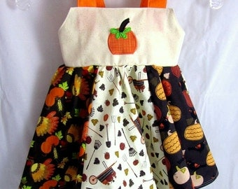 Fall Twirly Patchwork Dress, Thanksgiving, Autumn, pumpkins, leaves, turkeys, orange, brown, red, yellow, Customizble & adjustable
