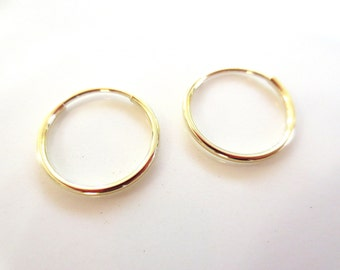 14K Yellow Gold Endless Hoop Earrings 12mm and 16mm