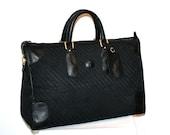 GUCCI Vintage Duffle Handbag Black Monogram Leather Large Travel Tote  - AUTHENTIC -