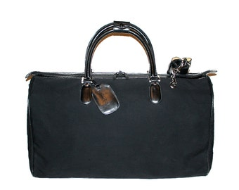 GUCCI Vintage Duffle Handbag Black Canvas and Leather Large Travel Tote  - AUTHENTIC -