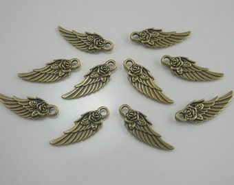 10 pcs.Zinc Antique Brass Angel Rose Wings Charms Pendants Decorations Findings 11 mm. (2 sides) Wings Br11 304