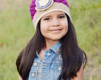 Sassy Hat Crochet Pattern for girls in Newborn, Baby, Toddler and Kids sizes featuring an open stitch pattern No.112 Digital Download
