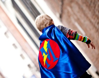 Best Selling Blue and Red Personalized Boy SUPERHERO Cape bolt - 26 inches - Custom Letter Christmas gift - Free Armbands with your Cape
