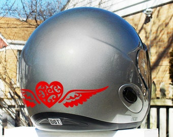 Tribal Heart With Wings Reflective Decal Set  / Heart with Wings Helmet Stickers / Winged Heart Motorcycle Stickers / Bike Stickers / #695R