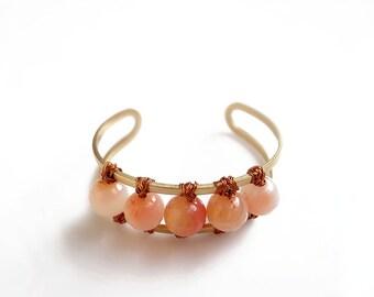 Gemstone Cuff Bracelet, Wire Wrapped Bangle, Carnelian Bracelet,  Boho Stone Bangle Bracelet