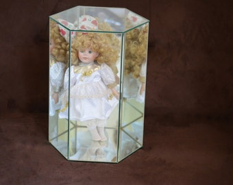 Glass Display Case/Doll Case/Mirrored Display/ Hexagon Case/Home Decor/1992/93