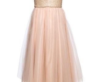 Blush Sequinned tea length Wedding Dress / strapless tulle dress