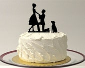 WITH DOG Wedding Cake Topper Silhouette Engagement Cake Topper Bride + Groom + Dog Pet Family of 3 Cake Topper Bride Groom Dog Cake Topper