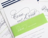 Navy Blue Wedding Invitation - Navy Blue Wedding Invites - Stripes, Blue, Green - Script Elegance Wedding Invitations by Shine Invitations