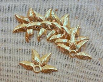Four -Petal Raw Brass Bead Base/Cap or Charm (10) Steampunk, Nature