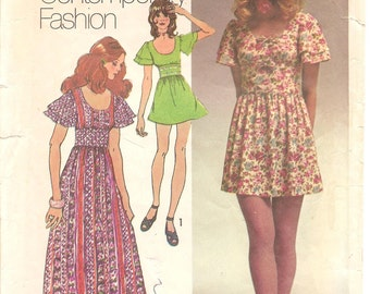 1970s Mini Dress or Maxi Dress - Vintage Simplicity 9725 - Bust 33 1/2
