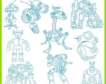 28 Robots Vector Clipart