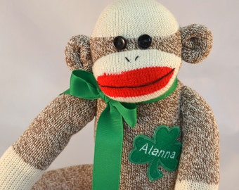 Irish Sock Monkey Doll Personalized. Lass or Lad. St Paddy's Day Gift.