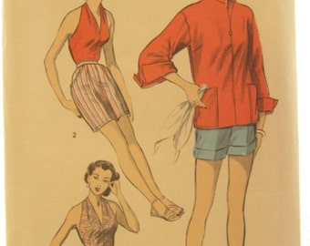 Advance 6105 Rare 50s Swimsuit 1950s Halter Top and Shorts Vintage Sewing Pattern Bust 30