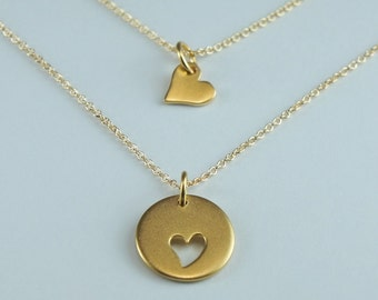 Mother and Daughter Necklace,Two Gold Heart Charms, Friendship Necklace, Matte Gold Pendants, Free US Shipping