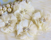 """NEW: 4 pcs Aubrey IVORY - 2"""" Soft Chiffon with pearls and rhinestones Mesh Layered Small Fabric Flowers, Hair accessories"""