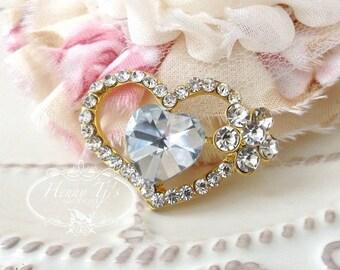 Valentine's Day Heart Gold Metal 37mm Rhinestone buttons Flat Back Embellishment, Scrapbooking, Headband Supplies, flower centers