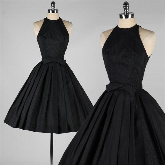 Vintage 1950s Dress . SUZY PERETTE . Black Halter . Bow Belt