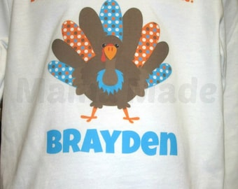 Boy's Orange and Turquoise Turkey Shirt or Bodysuit Everyone is thankful for me Turkey Shirt Boy's Thanksgiving Shirt Gobble Shirt Turkey