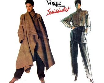 80s ISSEY MIYAKE Pants Shirt & Coat Pattern Vogue Individualist 1476 Vintage Sewing Pattern Bust 32 1/2 inches
