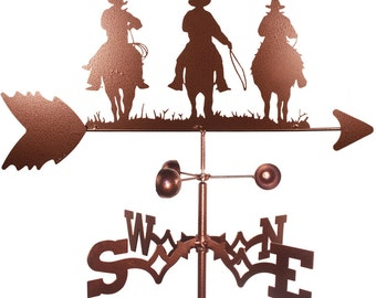Hand Made Three Cowboy Western Weathervane New