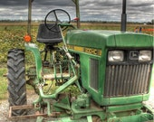John Deere tractor, Tractor home decor, John Deere home decor, fine art phoptography, farm photo, green tractor, kids room, child home decor