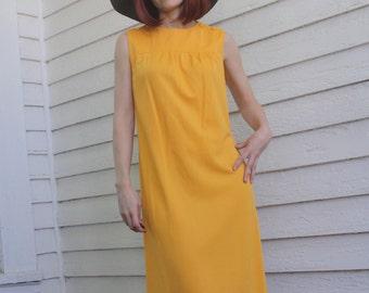 60s Mod Dress Citrus Orange Marigold Apricot Vintage 1960s Sleeveless S XS