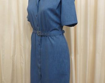 Vintage 1980s Blue Office Business Work Dress Australia