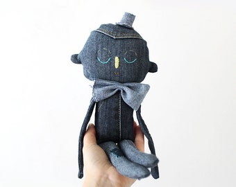 SALE - Textile Soft Sculpture Denim Character OOAK Art Doll No.1