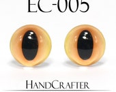 1 pairs - 12mm Handmade glass eyes Monster Eyes Cat Eyes Glass Cabochons EC-005 NO WASHER