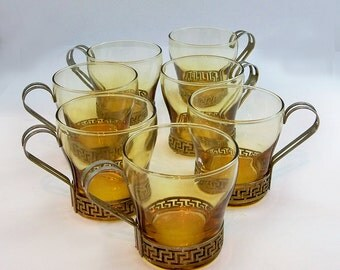 Mid Century Modern Glass & Metal Mugs - Coffee Cups - Set of 7