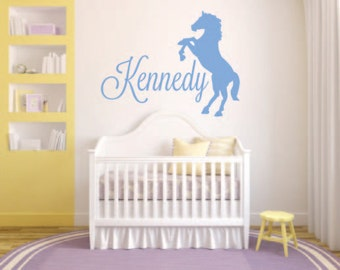 Sillhouette Horse with Child's Name Vinyl Wall Decal - Horse Vinyl Wall Decal - Name Personalized Horse Wall Decal - Horse Silhouette Decal