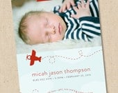 Airplane - Modern Photo Birth Announcement - Baby Boy