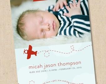 Airplane - Modern Photo Birth Announcement - Baby Boy