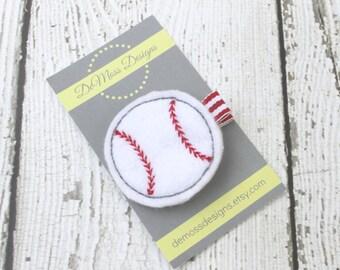 Baseball Hair Clip, Felt Hair Clippie, Machine Embroidered, Alligator Clip, Non Slip, Ready to Ship