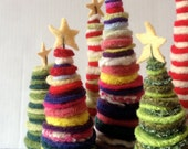 Kit to make Three Christmas Trees with yellow stars on Top Fun and Funky - FeltedWoolies