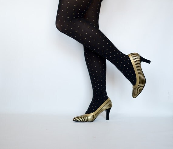 Store-Closing SALE!!  Hot Vintage Women's Shoes - Black and Metallic Gold Heels