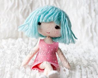 """Custom Sophie 8"""" Poppet Felt Doll - Handmade Posable Doll - Felt Doll - Gingermelon Doll"""