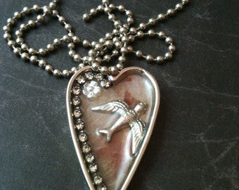 Victorian Pearl, Crystal and Bird Necklace