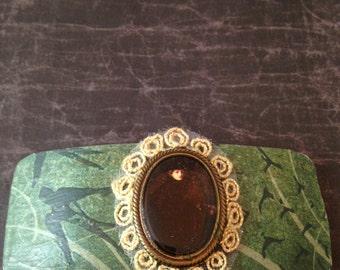 Green Steampunk Hair Barrette with Birds and Cameo